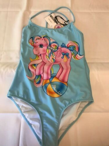 $295 SS18 Moschino Couture Jeremy Scott My Little Pony Blue One-Piece Swimsuit