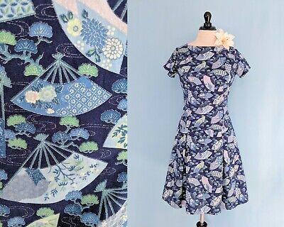 90s vintage Blue Ditsy Floral Print Cotton Sundress  Floral Print Cotton Sundress