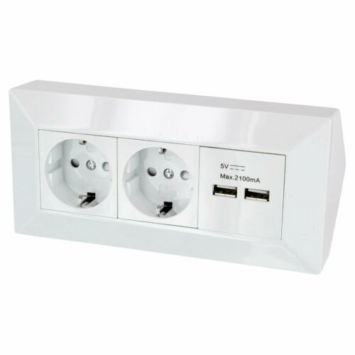 2x USB Eck Steckdosenleiste 2x Steckdose Ecksteckdose Küche Aufbausteckdose