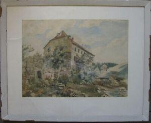 House-into-Estate-Watercolour-by-199-Mediterranean-Fine-Work-House-Yard-Landscape