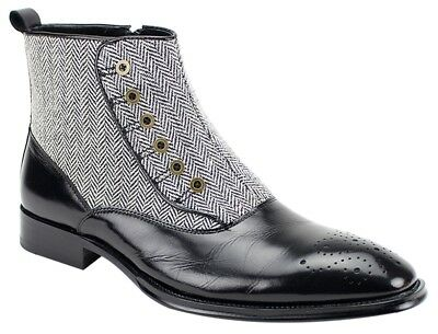 Men's Dress Casual Ankle Boots BLACK Leather Tweed Side Zippered EDISON GIOVANNI