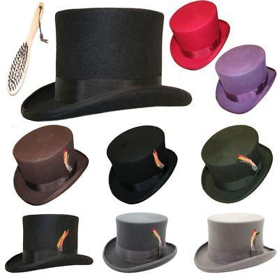 100% Lana Feltro Top Hat Alta Qualità Hand Made Eventi Matrimonio Costume S-xxl-mostra Il Titolo Originale Lustro