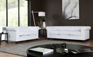 Image Is Loading Hampton White Leather Chesterfield Sofa Sofas Couch Settee