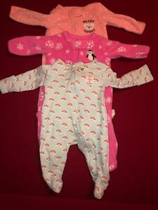 784d08986 Carters Baby Girl Infant Footed Sleepers Lot Of 3 Newborn