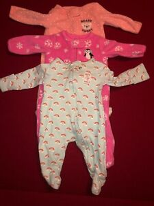 688b19ee5 Carters Baby Girl Infant Footed Sleepers Lot Of 3 Newborn