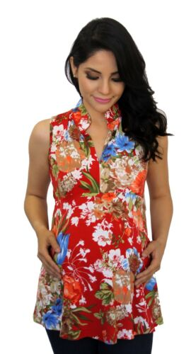 Floral Red Sleeveless Maternity Pregnancy Blouse Top Collar Soft Flowers Vintage