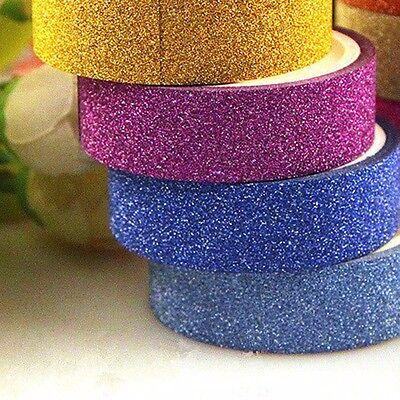 5M 2Pc Glitter Washi Sticky Paper Masking Adhesive Tape Label Craft Decor 4Color