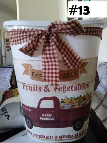 "red farm truck veggies  Decorative Trash Can 12/"" high Bathroom Kitchen Laundry"