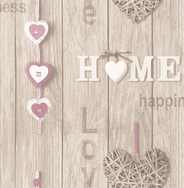 Miraculous Love Your Home Lilac Hearts Wood Panel Shabby Chic Wallpaper Fine Decor Fd41720 Home Interior And Landscaping Ponolsignezvosmurscom