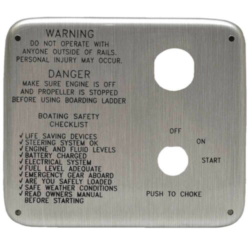Avalon Boat Blank Ignition Panel 1201706 3//8 x 5 1//2 Inch Silver