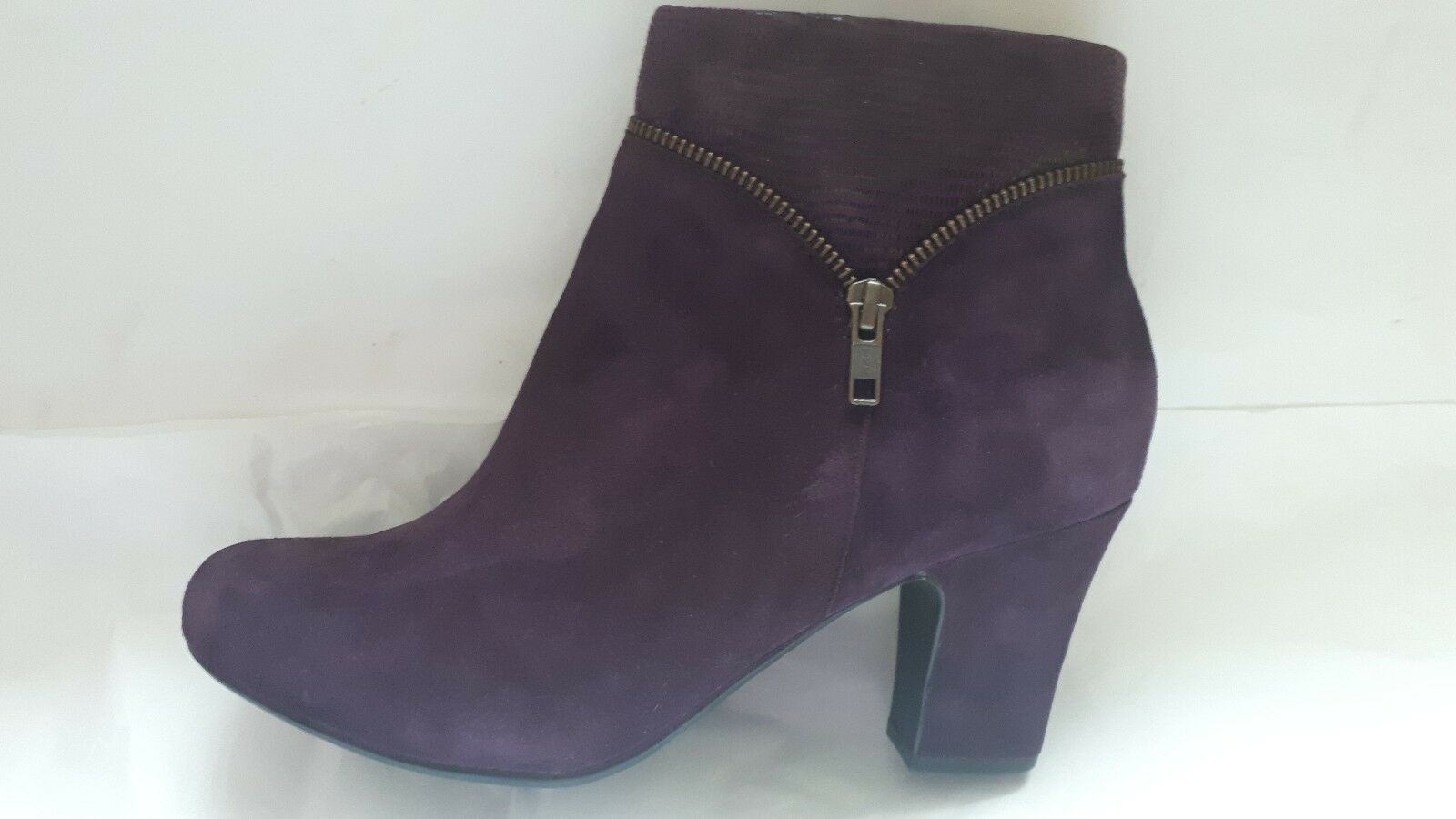 NEW HOTTER VANITY SUEADE LEATHER PLUM SNAKE ANKLE BOOTS SIZE RRP
