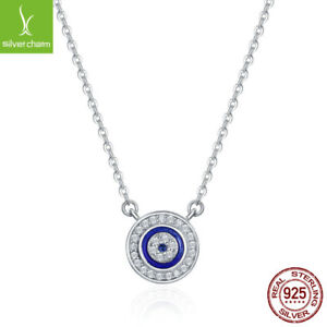 925 Sterling Silver Charm Evil Eye Necklace Turkey Pendant Women ... a67cc1e3ba