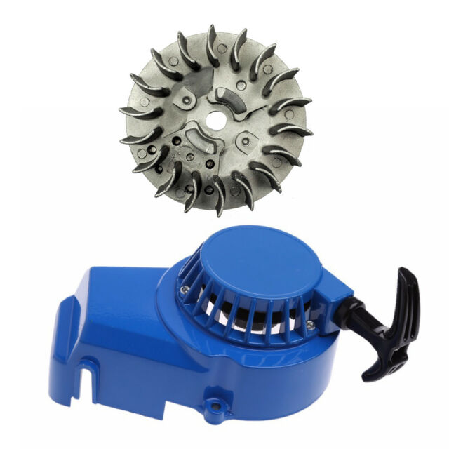 BLUE PULL START STARTER w Flywheel for MINI DIRT ATV QUAD DS 50CC 49CC 2 STROKE