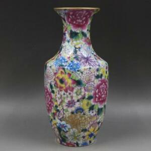 Chinese-Old-Marked-Gilt-Famille-Rose-Colored-Flowers-Pattern-Porcelain-Vase