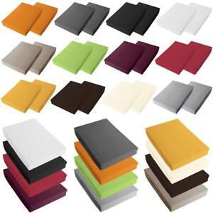 jersey spannbettlaken 2er pack 100 baumwolle 90x200 100x200 200x200 180x200 ebay. Black Bedroom Furniture Sets. Home Design Ideas