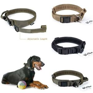 HEAVY-DUTY-Tactical-Adjustable-Nylon-Dog-Collar-w-Strong-Handle-Metal-Buckle