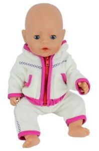 Puppenkleidung Jogging Anzug Weiss Pink 43 Cm Zb Baby Born