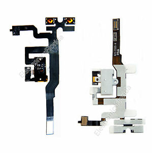 *white Headphone Audio Jack Volume Switch Flex Cable For iPhone 4S 4GS b91
