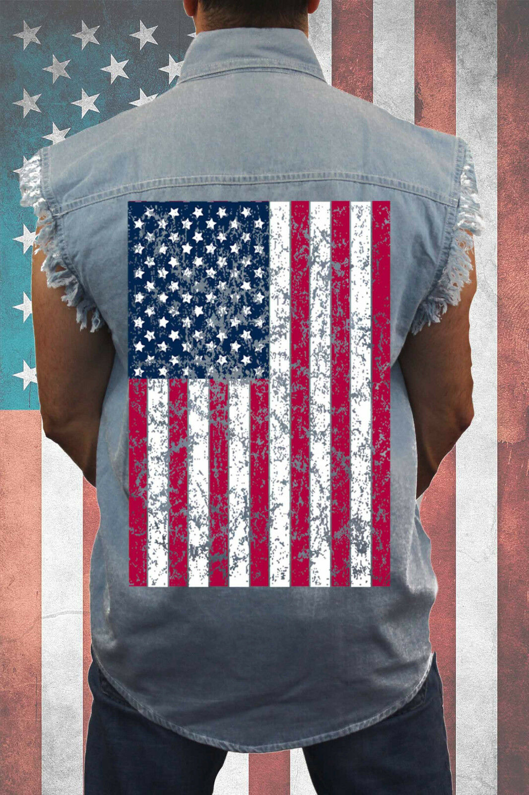 MEN'S LIGHT DENIM SLEEVELESS SHIRT American Patriot USA FLAG STARS STRIPES M-6X