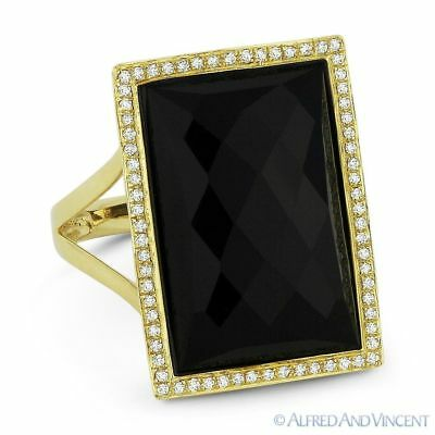 0.59ct Black Onyx 14k Yellow Gold Right-Hand 4-Leaf Flower Charm Statement Ring