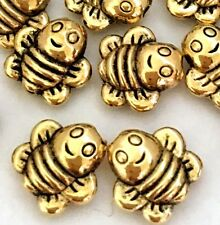 25 Antique Gold Pewter Honey Bee Happy Face Beads 8mm ~ Lead-Free ~