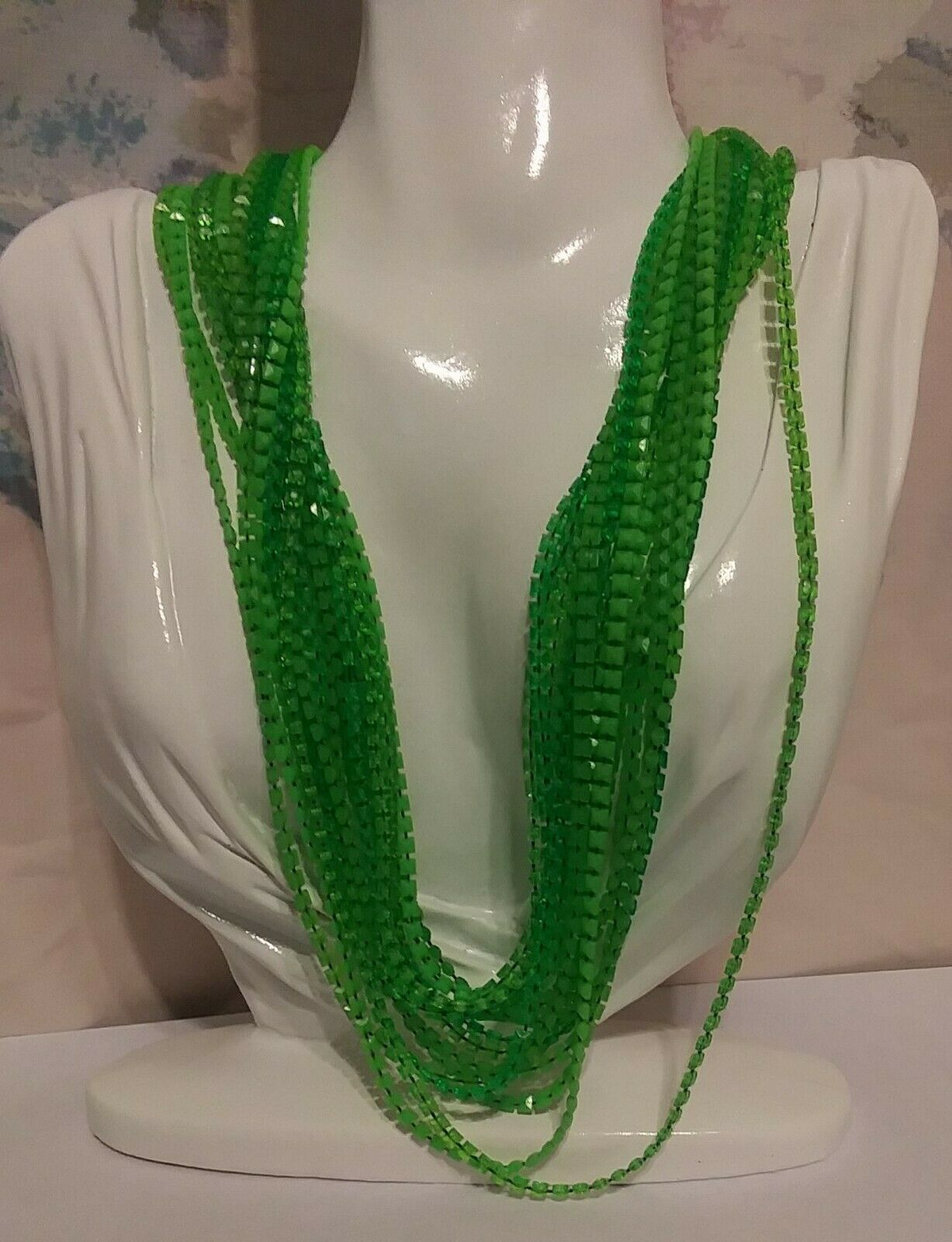 Vintage Neon Green Beaded Multi-strand Necklace - image 1