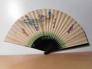 Prix Pas Cher Eventail Ancien Japonais Décor Peint Personnage Japonaise Paysage Oiseau Japon 2 Avoir Un Style National Unique