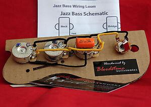 left hand ready built fender usa jazz j bass wiring upgrade loom rh ebay ie Left Hand Fender Bass Bass Left Hand Position