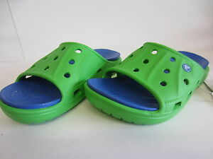 89c64aab24b4 CROCS Feat Slide Boys   Girls Lime Green Sea Blue Sandals J2 (R43B ...