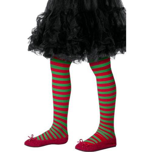 Ragazze Rosso Verde a Righe Collant Elfo Accessorio Costume Festa Di Natale Bambino