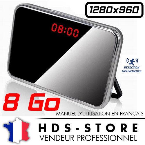 MICRO SD 8 GO ANGLE 140° DÉTECTION VIDÉO RVLD RÉVEIL CAMERA ESPION DESIGN 960P