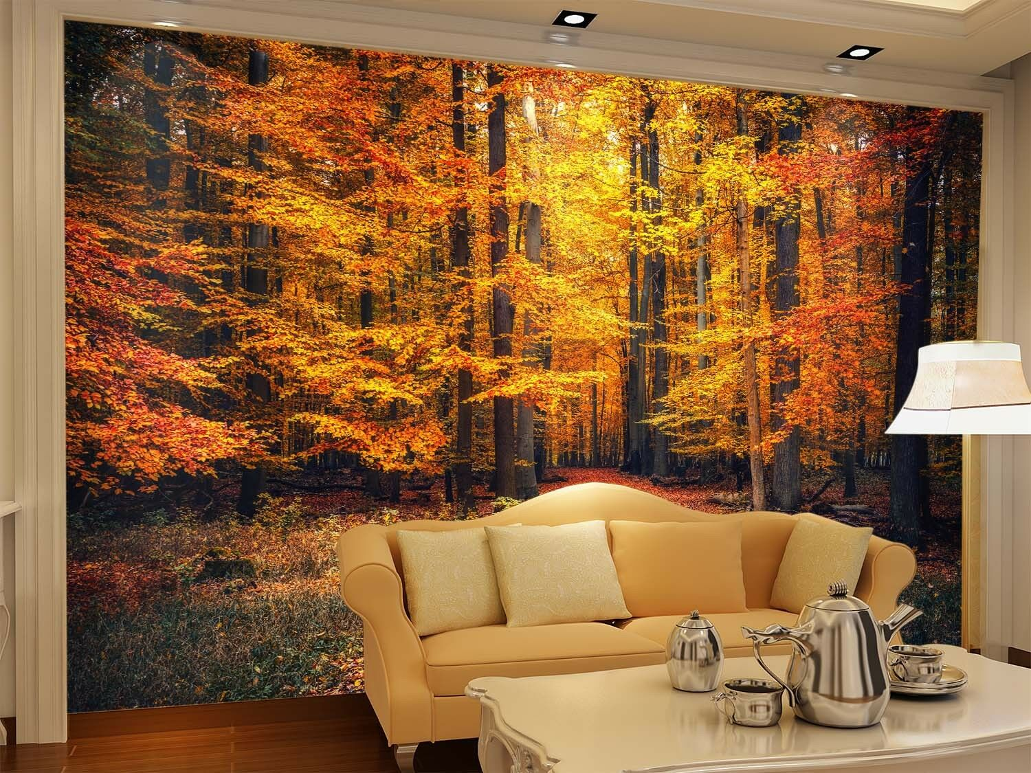 3D Golden Forest 80 Wall Paper Murals Wall Print Wall Wallpaper Mural AU Lemon