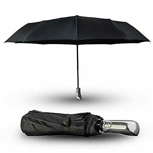 Windproof Fast Drying Large Compact Folding Travel Umbrella 10 Ribs Auto Open