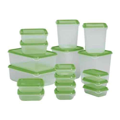 Set Di 17 X Ikea Pruta Plastica Trasparente da Freezer Cibo Contenitori Verde D