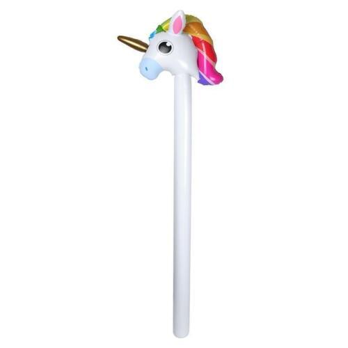 110cm saltare in aria gonfiabile Unicorno Hobby Horse Stick Capelli Arcobaleno Corsa Giocattolo Regalo