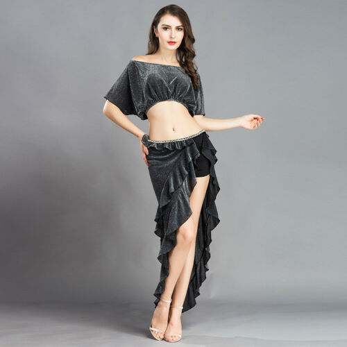 Skirt Belly Dance Practice Costume C812 Belly Dance Costume with 2 Parts Top Top