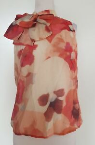 CUE-Reds-Cream-Floral-Top-with-Bow-Detail-Size-8