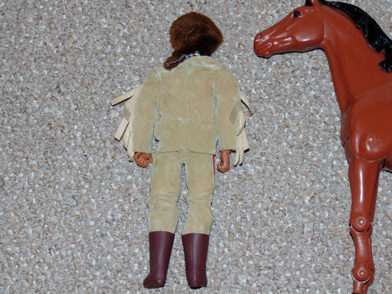 1970s Big Jim Karl May Old Old Old Firehand with Articulated Horse Figure Lot a6b10c