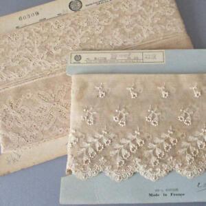 2-Bolts-Vintage-Ecru-French-LACE-Trims-TAMBOUR-Alencon-3-034-7-034-Wide-DOLLS