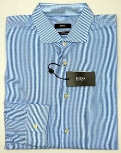 NWT-145-Hugo-Boss-Blue-Stripe-Shirt-LS-Mens-XL-2X-Ridley-F-50302512428-Slim-Fit