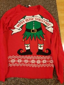 Details about Women's Ugly Christmas Sweater MERRY ELFIN' CHRISTMAS size Large