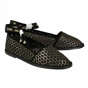 74fbd3c56 NIB CHRISTIAN DIOR 'Nicely-D' Black/Gold Mesh Ballet Flats Shoes 7.5 ...
