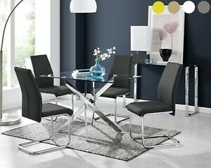 Leonardo Black White Chrome Glass Dining Table Set And 4 Dining Chairs Ebay