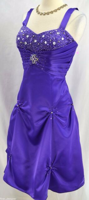 38132c72276 City Triangles PURPLE knee GOWN SHORT HALTER cocktail DRESS Fit Flare bead  SZ 9