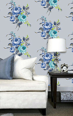 Hand Painted Effect Floral Design Wallpaper by Holden Decor (Arabella Blue)