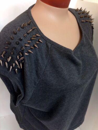 Taglia elasticizzato grigio sml cotone Spikes sulle Felpa in spalle WAw6ZqFUA