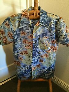 VINTAGE-BLUE-ALOHA-LABEL-TROPICAL-BEACH-HAWAIIAN-ALOHA-PRINT-SHIRT-MEDIUM