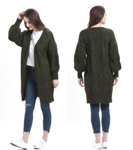 a lavorato per Cappotto Cappotto con giacca cardigan cavo lavorato a per maglia cardigan giacca kaki M S trecce HRzXq8Uz