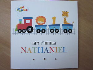 Personalised handmade boys train 1st first birthday card son image is loading personalised handmade boys train 1st first birthday card bookmarktalkfo Gallery