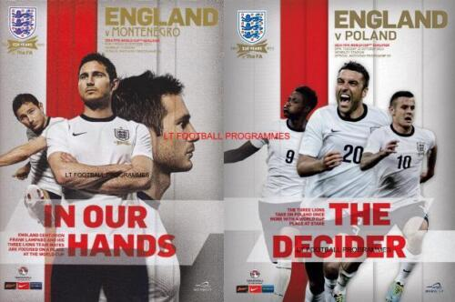 ENGLAND v MONTENEGRO & v POLAND 2013 BOTH WORLD CUP QUALIFIERS PROGRAMMES